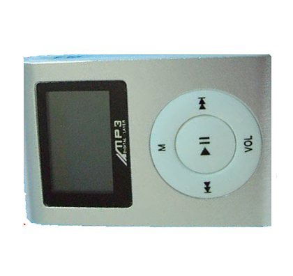 (SILVER) LCD MINI CLIP ON MP3 PLAYER.SUPPORTS 1GB,2GB,4GB,8GB SDHC MEMORY (BULK PACKAGE,MEMORRY CARD NOT INCLUDED)