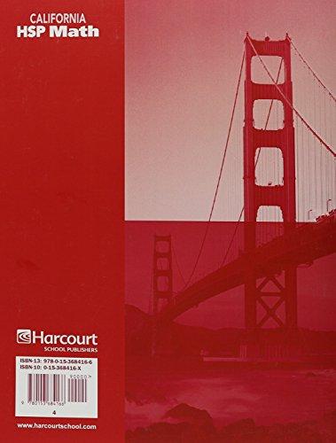 Harcourt School Publishers Math California: Multiple Choice Assessment Grade 4 (Hsp Math 09)