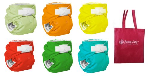 Rumparooz One Size Cloth Diaper Covers, 6 pack, Gender Neutral Colors with Reusable Dainty Baby Bag Bundle (Aplix)