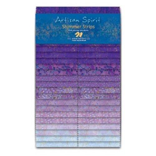 "Artisan Spirit Shimmer 2.5"" Strips by Deborah Edwards Northcott Pansy 100% Cotton Quilt Fabric"