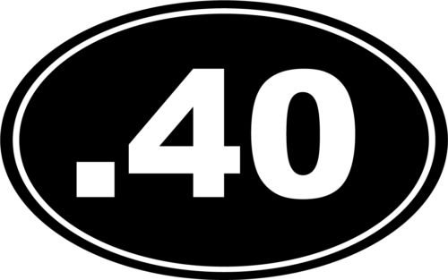 .40 Bullet Gun 40 Cal Euro Oval Car Decal Window Sticker Laptop (WHITE COLOR DECAL) - Die Cut Decal Bumper Sticker For Windows, Cars, Trucks, Laptops, Etc. (Bullets 40 Cal compare prices)