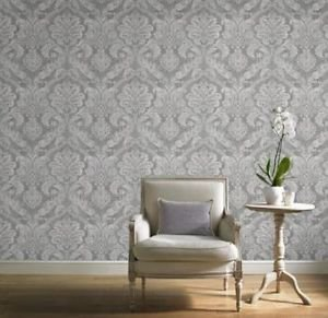 Gran Deco Paradise Damask Wallpaper - Silver by New A-Brend