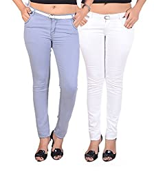 Goodgift Ice Blue & White Cotton Lycra Jeans
