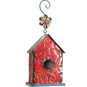 Wilco Imports Metal Red Decorative Bird House