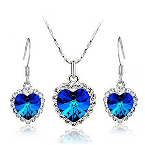 Titanic Faux Crystal Diamond 925 Silver Plated Necklace & Earrings 1 Set JF004 - 1