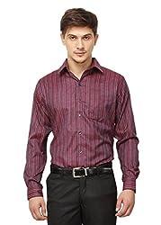 Copperline Maroon Striped Slimfit Fullsleeves Cotton Shirts.
