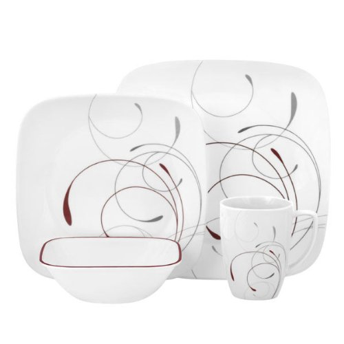 Corelle Square 16-Piece Dinnerware Set, Splendor, Service for 4 (32 Piece Corelle Dinnerware Set compare prices)