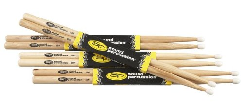 Sound Percussion Hickory Drumsticks 4 Pack 5B Nylon