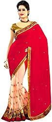 Avsar Prints Women's Faux Georgette Saree (M101, Red)