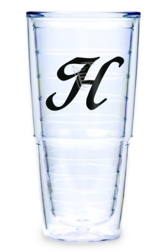 Tervis Tumbler Black Laser Twill Initial - H 24-Ounce Double Wall Insulated Tumbler Set Of 2 front-581396