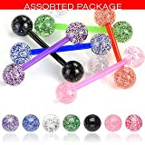 Body Accentz™ 7 Flexible Ultra Sparkle Sparkle Acrylic Tongue Ring 14g - In Assorted Colors