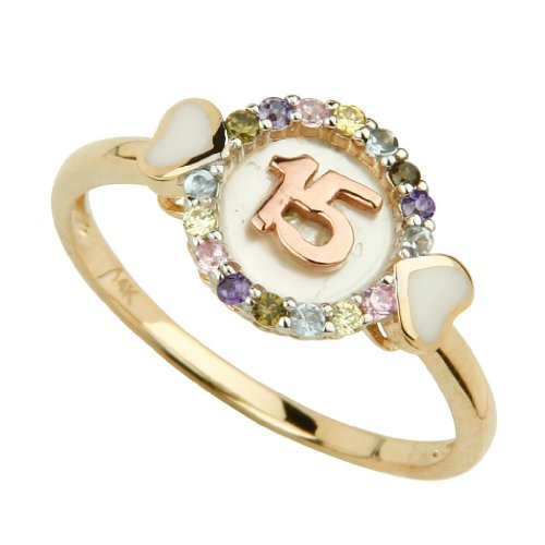 14K Yellow Gold Multi-Color Cubic Zirconia 15 Anos Ring (Size 4 to 9) - Size 6