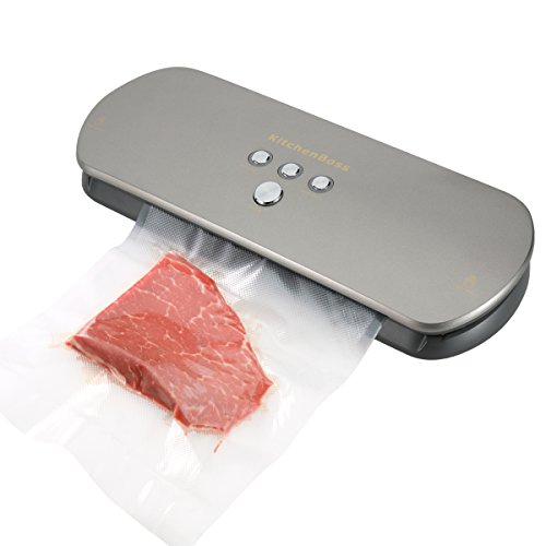KitchenBoss Vacuum Sealer for Dry Moist Foods Preservation, Automatic Vacuum Sealing System with Starter Bags Kit - Latest Model (Silver) (Food Dry Freezer compare prices)