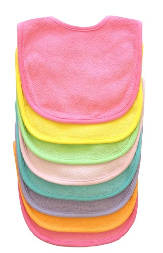 Neat Solutions 8 Pack Multi-Color Solid Knit Terry Feeder Bib, Girl front-1018207