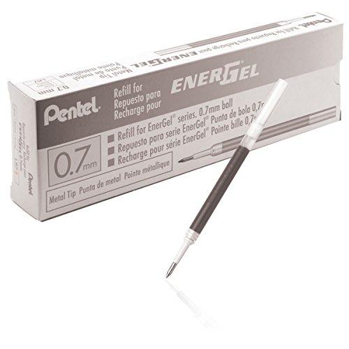 Pentel Refill Ink for BL57/BL77 EnerGel Liquid Gel Pen, Box of 12, 0.7mm, Metal Tip, Black Ink (LR7-A-12)