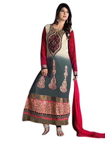 Red Ruda Grey And Red Color Georgette Salwar Suit DR473 (Multicolor)