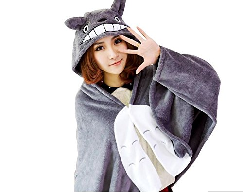 blue-elep/Plush toy totoro mantissas cape lounged blanket air conditioning blanket dual coral fleece