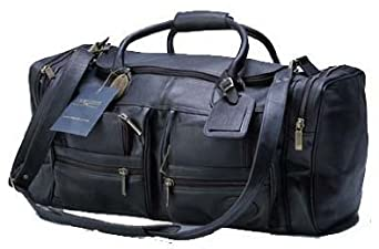 Claire Chase Executive Sport Vaqueta Leather Duffel Bag (Black)