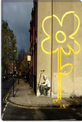 "Yellow Lines Flower Painter by Banksy Canvas Painting Art Print #2070 18""x12"""