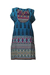 Tulip Collections Women's Cotton Embroidered Kurti (Large, Green)