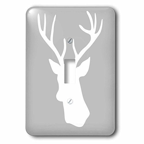 3dRose lsp_112848_1 White Deer with Antlers Silhouette On Wintery Gray Grey Stag Shadow Stylish Winter Christmas Gifts Single Toggle Switch