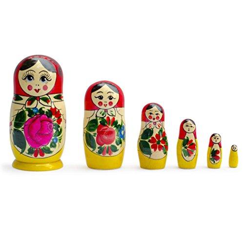 575-Set-of-6-Semenov-Wooden-Russian-Nesting-Dolls-Matryoshka-Stacking-Nested-Wood-Dolls
