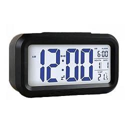 1 X NuoYa001 LED Digital Alarm Clock Light Sense Control Backlight Time Calendar Thermometer Black color by NuoYa