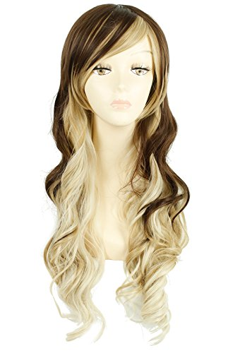 [L-email Fashion Long Wavy Hair Wig Brown Fade Blonde] (Sandy Wig)