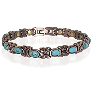 "JBM3637TQ Copper Clad 0.25"" Wide Turquoise Ladies Magnetic Bracelet 7.5"" Long with Fold over Clasps"