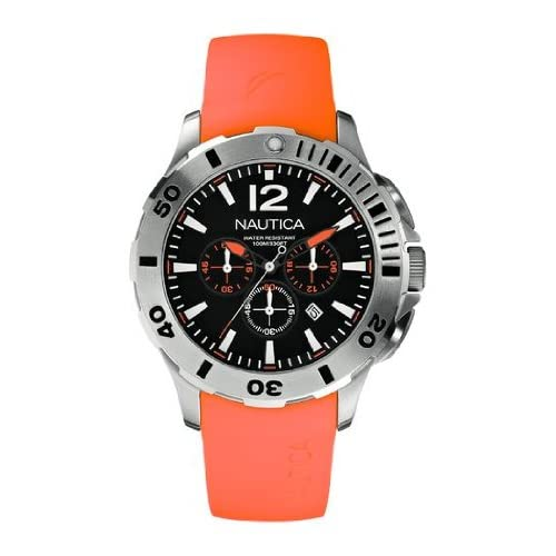 Nautica Men's Quartz Watch with Black Dial Chronograph Display and Orange Resin Strap A16567G