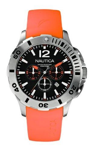 Nautica A16567G Silver Tone Orologio Cronografo da Polso da Uomo, Resina, Arancione