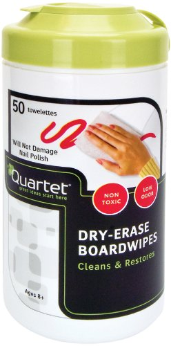Quartet Boardwipes Disposable Dry-Erase Cleaning Wipes, Non-Toxic, Low-Odor, 50 Sheet Tub (52-180032Q)