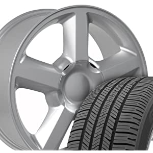 Tahoe Style Wheels and Tires Fits Chevrolet - Polished 20x8.5 Set of 4