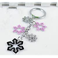 Pink Snowflakes Christmas Couple Keychain Car Keychain Key Ring Key Chain Key Ring Snowflake Christmas
