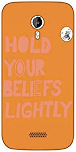 Snoogg Hold your beliefs tightly 2750 Designer Protective Back Case Cover For Micromax A116