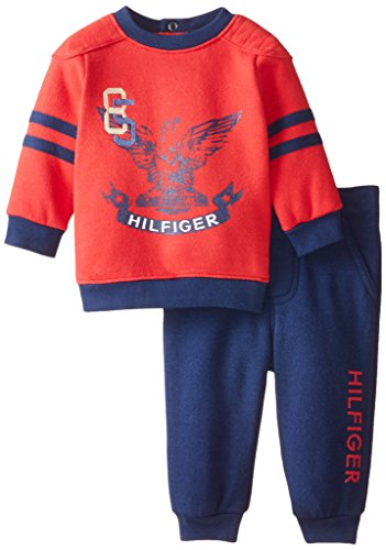 Tommy Hilfiger Baby-Boys Newborn Fleece Pull Over with Pants, Red, 0-3 Months