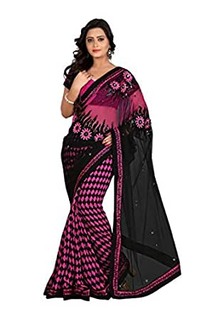 Fabdeal Black Coloured Net Embroidered Saree/Sari available at Amazon for Rs.3299