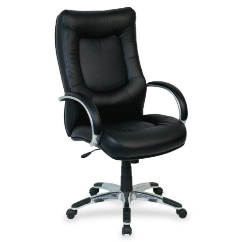 Lorell High-Back Executive Chair, 26-1/2 by 28-1/4 by 44-1/2-Inch to 48-Inch, Black Leather