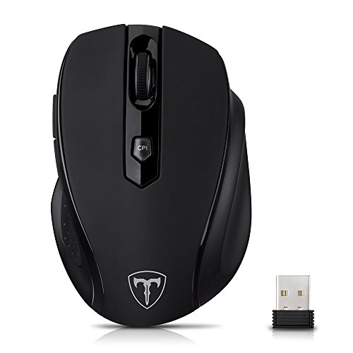 VicTsing Wireless Mini Mouse Senza Fili 2.4 G, 5 Modi di DPI Regolabile 800-1200-1600-2000-2400 con Ricevitore USB per PC Computer Mac- Nero