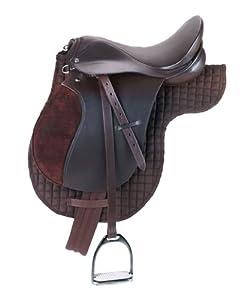 Kerbl 32198 Haflinger - Silla de montar con arreos, paramento, estribos y ventrera, color marrón