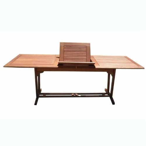 VIFAH V232 Outdoor Wood Rectangular Extention Table with Foldable Butterfly