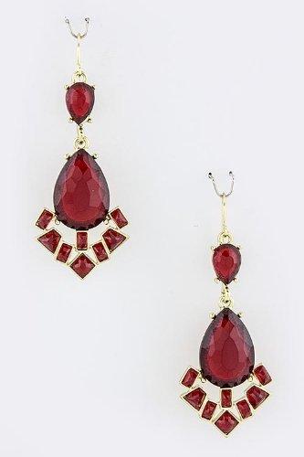 Karmas Canvas Teardrop Jewel Fringe Earrings (Burgundy) front-223477
