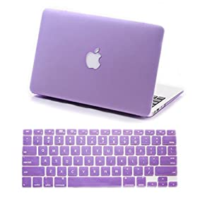 "IDACA Purple Frosted Matte Hard Shell Case Cover for Macbook Air 13"" 13.3"" A1369 & A1466 and 2014 New Macbook Air with Silicone Keyboard Cover Skin Stickers Protector (USA KEYBOARD VERSION)"