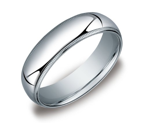 Men's Platinum 6mm Comfort Fit Milgrain Wedding Band Ring, Size 9