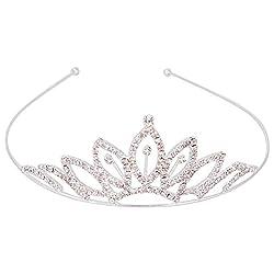 Aaishwarya Shimmering Stone Studded Princess Tiara Hair Band For Women/Girls