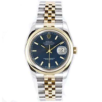Rolex Mens Style Heavy Band Stainless Steel & 18K Gold Datejust Model 116203 Jubilee Band Smooth Bezel Blue Stick Dial from Rolex