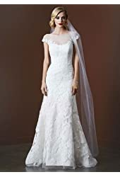 Lace SAMPLE: Tulle Trumpet Wedding Dress with Illusion Neckline Style AI26030051