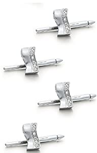 14K White Gold Wave Shirt Stud Set with .24 ct.-86524