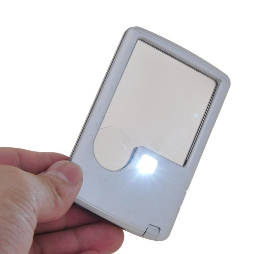 3X 6X LED Illuminated Magnifier Card Shaped Reading Magnifying Glass, Silver - 1