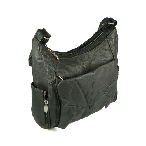 Genuine Leather Women's Hobo Handbag with Cell Phone Pocket (Black)